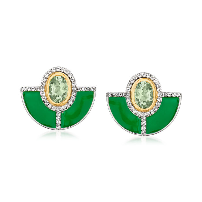 1.50 ct. t.w. Prasiolite and .40 ct. t.w. White Topaz Earrings with Green Enamel in Sterling Silver with 14kt Yellow Gold