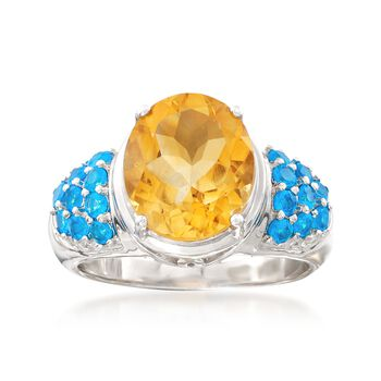 3.90 Carat Citrine and .90 ct. t.w. Apatite Ring in Sterling Silver, , default