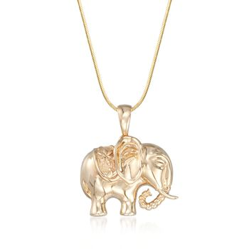 14kt Yellow Gold Elephant Pendant With Floral Saddle, , default