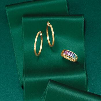 """Italian 14kt Yellow Gold Hoop Earrings. 1 1/8"""", , default"""