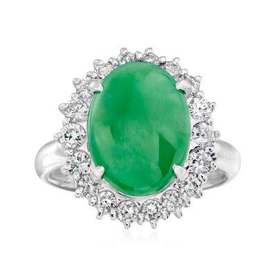 C. 1980 Vintage Jade and .82 ct. t.w. Diamond Ring in Platinum