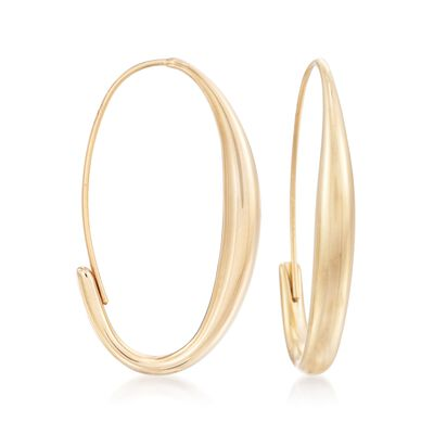 14kt Yellow Gold Oval Wire Hoop Earrings, , default