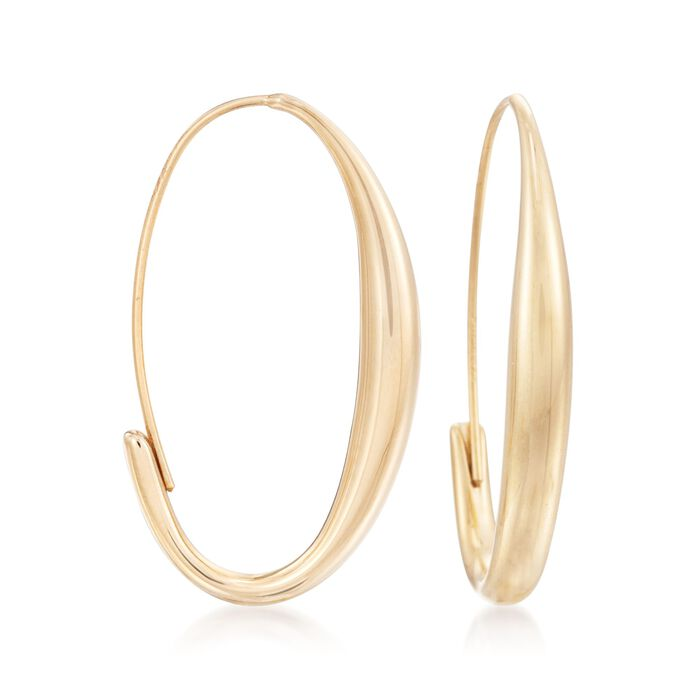 14kt Yellow Gold Oval Wire Hoop Earrings. <span class='nowrap'>1 1/4&quot;</span>