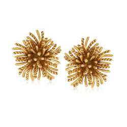 C. 1970 Vintage Tiffany Jewelry 18kt Yellow Gold Starburst Clip-On Earrings , , default