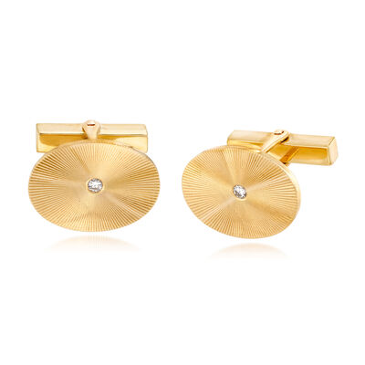 C. 1970 Vintage Tiffany Jewelry .10 ct. t.w. Diamond Circle Cuff Links in 14kt Yellow Gold