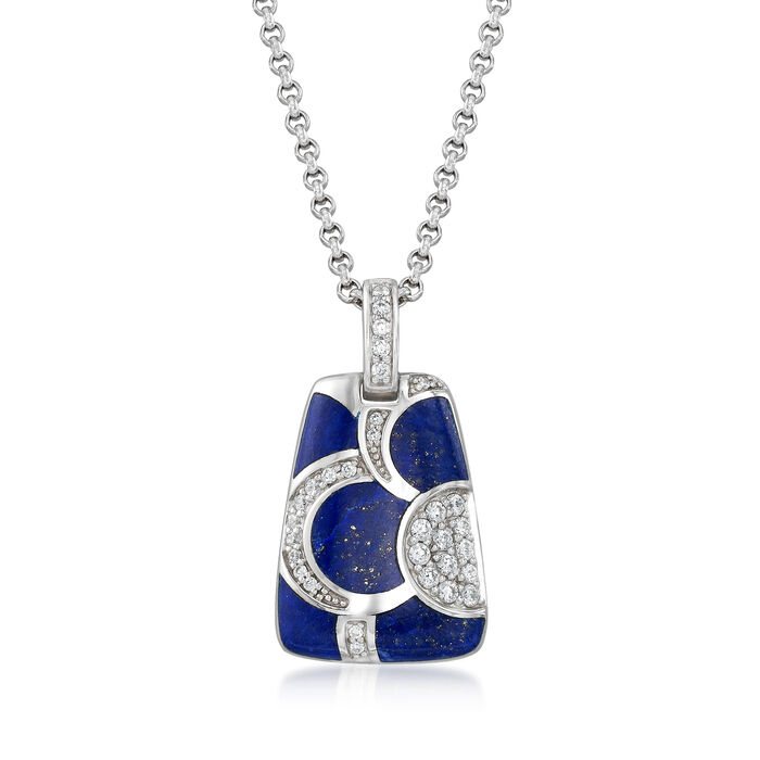 "Belle Etoile ""Adina"" Lapis and .45 ct. t.w. CZ Pendant in Sterling Silver"