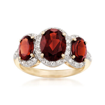 3.90 ct. t.w. Garnet and .27 ct. t.w. Diamond Three-Stone Ring in 14kt Yellow Gold, , default
