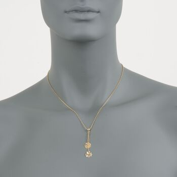 "14kt Yellow Gold Hammered Disc Lariat Necklace. 17"", , default"