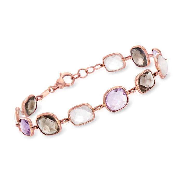 """C. 1980 Vintage 30.50 ct. t.w. Multi-Gemstone Bracelet in 14kt Rose Gold. 8"""", , default"""