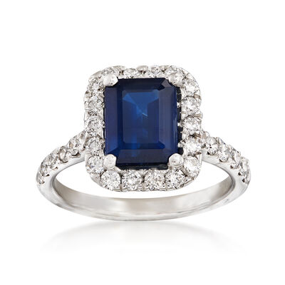2.00 Carat Sapphire and .80 ct. t.w. Diamond Halo Ring in 14kt White Gold, , default