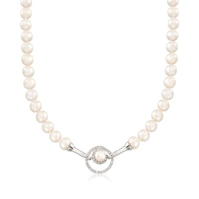 8-8.5mm Cultured Pearl and .40 ct. t.w. White Topaz Open-Space Swirl Adjustable Hook Necklace in Sterling, , default