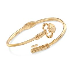 "Italian 18kt Gold Over Sterling Skeleton Key Bypass Bangle Bracelet. 8"", , default"