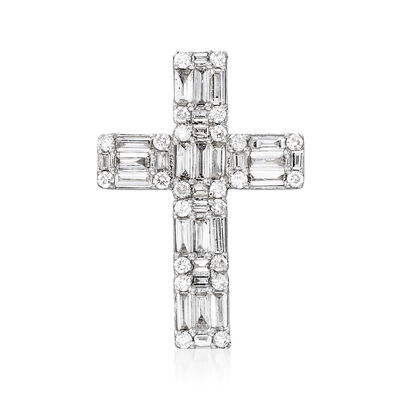 .56 ct. t.w. Round and Baguette Diamond Cross Pendant in 14kt White Gold