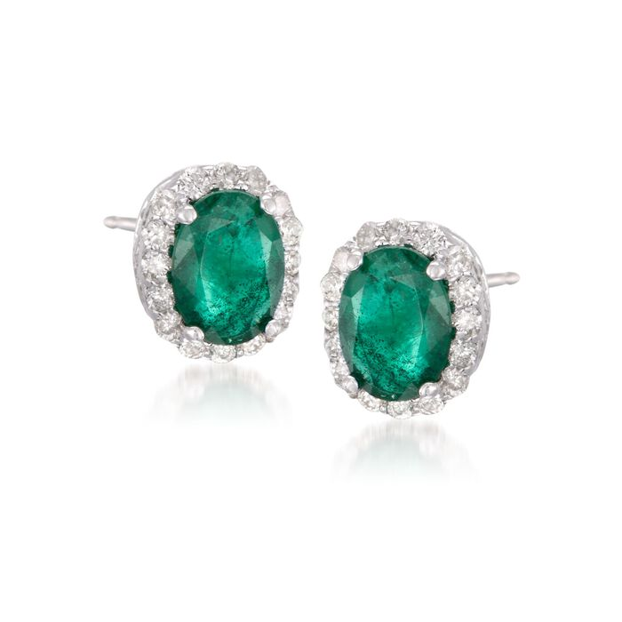 1.50 ct. t.w. Emerald and .30 ct. t.w. Diamond Earrings in 14kt White Gold, , default