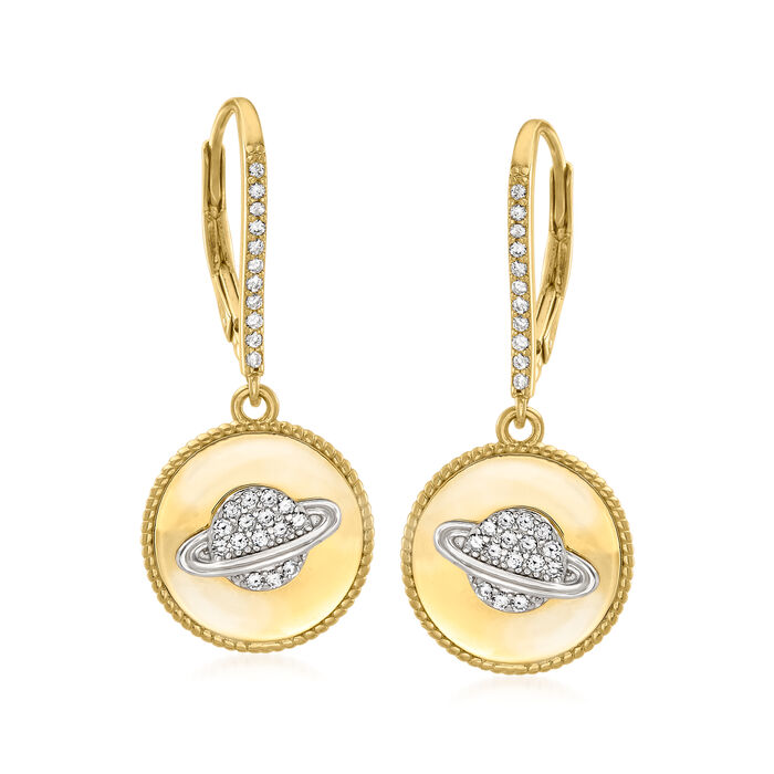 .30 ct. t.w. White Topaz Planet Drop Earrings in 18kt Gold Over Sterling
