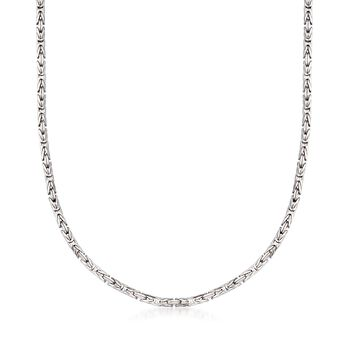 "2.4mm Sterling Silver Byzantine Necklace. 18"", , default"
