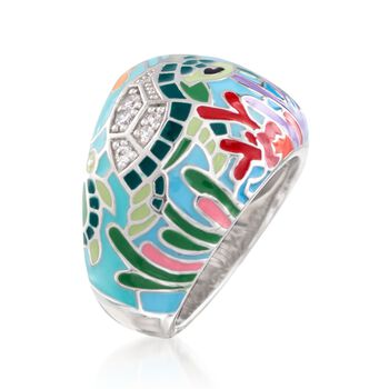 "Belle Etoile ""Sea Turtle"" Aqua Enamel Ring With CZs in Sterling Silver. Size 7, , default"