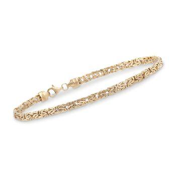 4mm 14kt Yellow Gold Byzantine Bracelet, , default