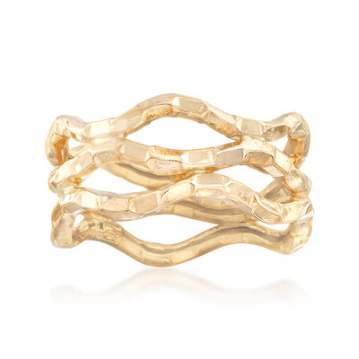 14kt Yellow Gold Wavy Openwork Ring, , default