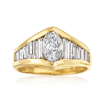 C. 1980 Vintage 2.00 ct. t.w. Marquise and Baguette Diamond Ring in 14kt Yellow Gold