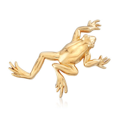C. 1990 Vintage 14kt Yellow Gold Frog Pin, , default