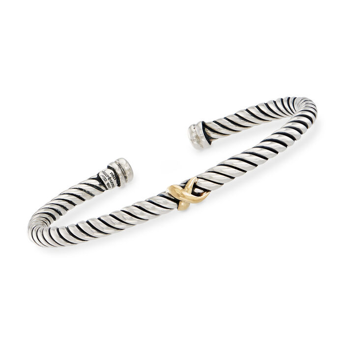 """Phillip Gavriel """"Italian Cable"""" Sterling Silver Cuff Bracelet with 18kt Gold. 7"""""""