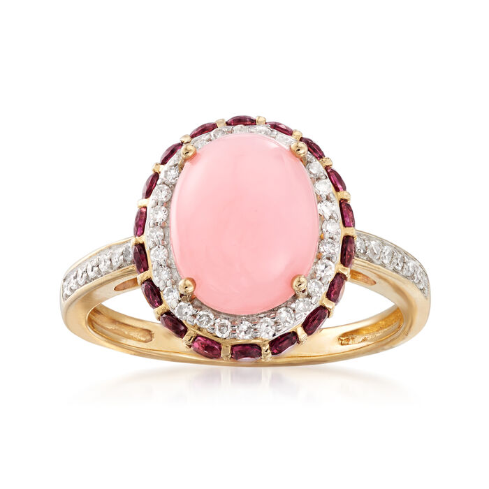 Pink Opal, .90 ct. t.w. Rhodolite Garnet and .21 ct. t.w. Diamond Ring in 14kt Yellow Gold