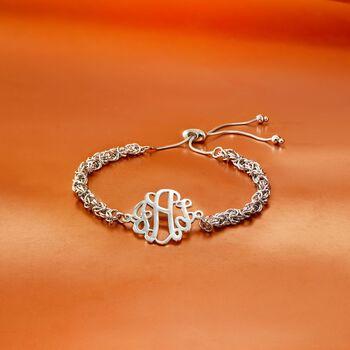 Sterling Silver Byzantine Monogram Bolo Bracelet , , default
