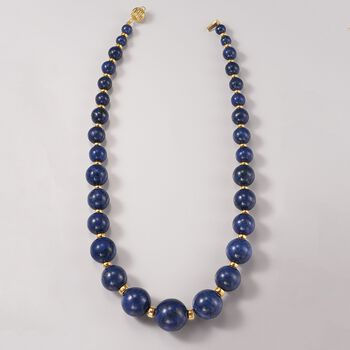 6-18mm Graduated Blue Lapis Bead Necklace with 14kt Yellow Gold , , default
