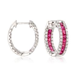 "2.70 ct. t.w. Ruby and 1.35 ct. t.w. Diamond Inside-Outside Hoop Earrings in 14kt White Gold. 3/4"", , default"