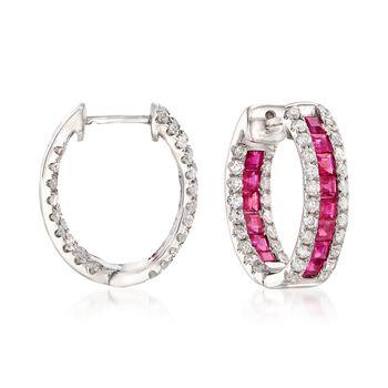 "2.70 ct. t.w. Ruby and 1.35 ct. t.w. Diamond Inside-Outside Hoop Earrings in 14kt White Gold. 3/4"", , default"