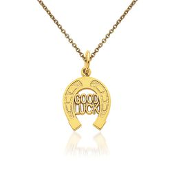 14kt Yellow Gold Horshoe Pendant Necklace, , default