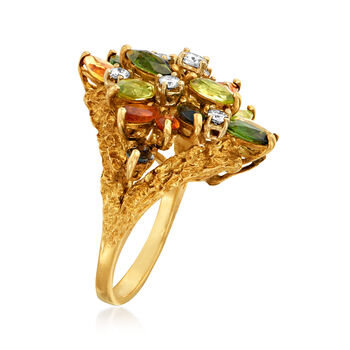 C. 1980 Vintage 3.25 ct. t.w. Multi-Gem and .50 ct. t.w. Diamond Cocktail Ring in 18kt Yellow Gold. Size 6