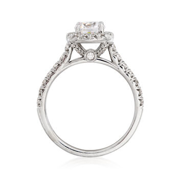 .49 ct. t.w. Diamond Halo Engagement Ring Setting in 14kt White Gold