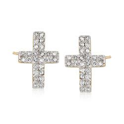 .28 ct. t.w. Diamond Cross Earrings in 14kt Yellow Gold , , default
