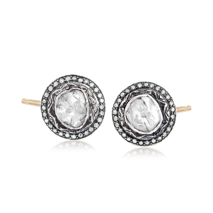 C. 1990 Vintage 2.30 ct. t.w. Diamond Earrings in Sterling Silver and 14kt Yellow Gold, , default