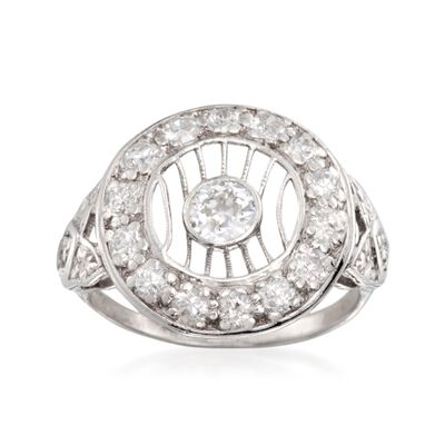 C. 1980 Vintage 1.00 ct. t.w. Open Top Diamond Ring in Platinum