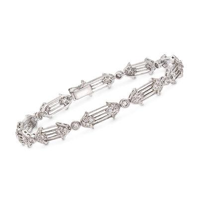 C. 1990 Vintage 1.20 ct. t.w. Diamond Floral Bracelet in 18kt White Gold, , default