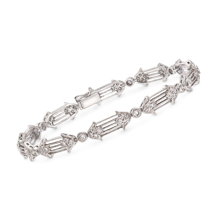"C. 1990 Vintage 1.20 ct. t.w. Diamond Floral Bracelet in 18kt White Gold. 7"", , default"