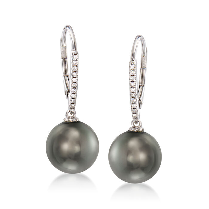 9-9.5mm Black Cultured Tahitian Pearl and .11 ct. t.w. Diamond Earrings in 14kt White Gold