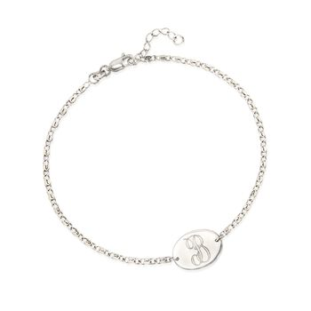 """Sterling Silver Single Initial Oval Plate Anklet. 9"""", , default"""