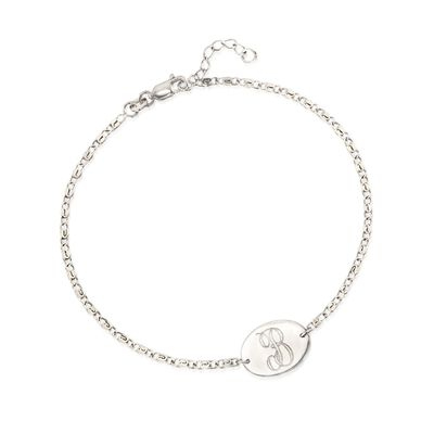 Sterling Silver Single Initial Oval Plate Anklet, , default