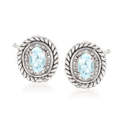 .20 ct. t.w. Aquamarine Frame Earrings with Diamond Accents in Sterling Silver, , default