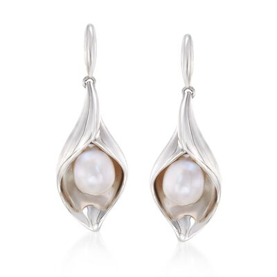 6.5-7mm Cultured Pearl Nature-Inspired Drop Earrings in Sterling Silver