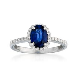 1.50 Carat Sapphire and .20 ct. t.w. Diamond Ring in 14kt White Gold, , default