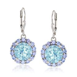 7.50 ct. t.w. Blue Topaz and 1.80 ct. t.w. Tanzanite Drop Earrings in Sterling Silver, , default