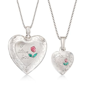 """Sterling Silver Mother/Daughter Jewelry Set: Two """"I Love You"""" Heart Necklaces. 14""""-18"""", , default"""