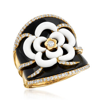 Black Onyx, White Agate and .70 ct. t.w. Diamond Flower Ring in 18kt Yellow Gold. Size 5, , default