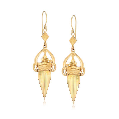 C. 1940 Vintage 18kt Yellow Gold Linear Drop Earrings, , default