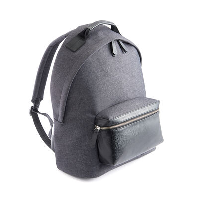 Royce Black Leather and Heather Gray Flannel Urban Backpack, , default